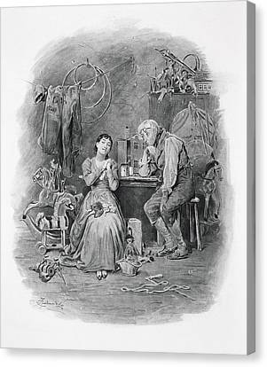 Caleb Plummer And His Blind Daughter Canvas Print by Frederick Barnard