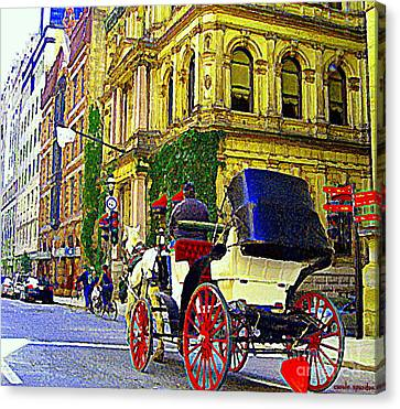 Caleche Ride By The Hotel Le St James Vieux Port Montreal Old World Charm And Elegance C Spandau Art Canvas Print by Carole Spandau