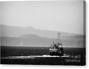 Lifeline Canvas Print - Caledonian Macbrayne Mv Canna Ferry Sails Off To Ballycastle From Rathlin Island Northern Ireland by Joe Fox