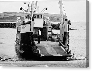 Lifeline Canvas Print - Caledonian Macbrayne Mv Canna Ferry With Vehicle Boarding Ramp Lowered Rathlin Island Pier Harbour N by Joe Fox
