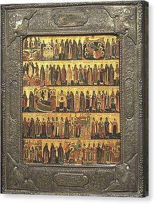 Russian Icon Canvas Print - Calendar Of Saints And Festivals by Russian Painter