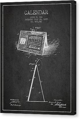Calendar Patent From 1889 - Charcoal Canvas Print
