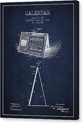 Calendar Patent From 1889 - Navy Blue Canvas Print