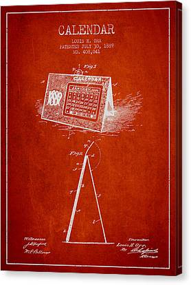 Calendar Patent From 1889 - Red Canvas Print