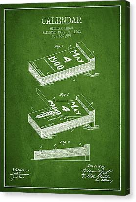 Calendar Patent From 1901 - Green Canvas Print