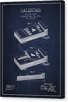 Calendar Patent From 1901 - Navy Blue Canvas Print