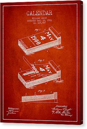 Calendar Patent From 1901 - Red Canvas Print