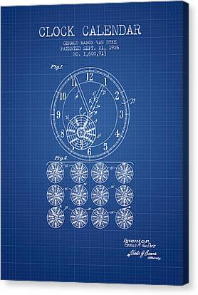 Calender Clock Patent From 1926 - Blueprint Canvas Print