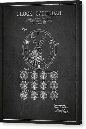 Calender Clock Patent From 1926 - Charcoal Canvas Print
