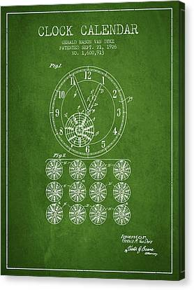 Calender Clock Patent From 1926 - Green Canvas Print