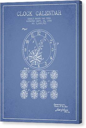 Calender Clock Patent From 1926 - Light Blue Canvas Print