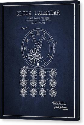 Calender Clock Patent From 1926 - Navy Blue Canvas Print