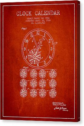 Calender Clock Patent From 1926 - Red Canvas Print
