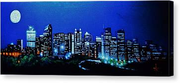 Calgary Canada In Black Light Canvas Print