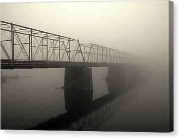 Canvas Print featuring the photograph Calhoun Street Bridge In Fog by Steven Richman