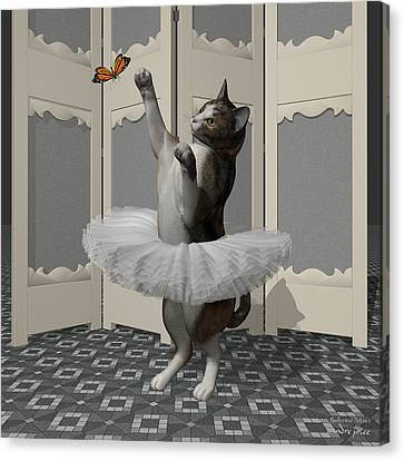 Calico Ballet Cat On Paw-te Canvas Print by Andre Price