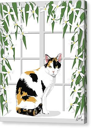 Calico Cat And Clematis Canvas Print by Artellus Artworks