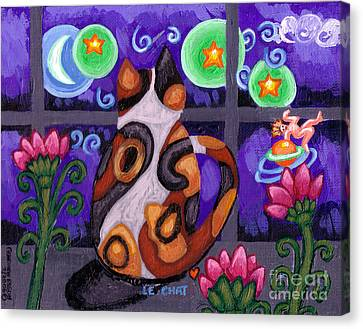 Calico Cat In Moonlight Canvas Print by Genevieve Esson