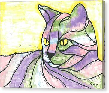 Canvas Print featuring the painting Calico Cat by Susie Weber