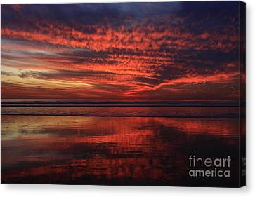 Canvas Print featuring the photograph Cardiff Afterglow  by John F Tsumas