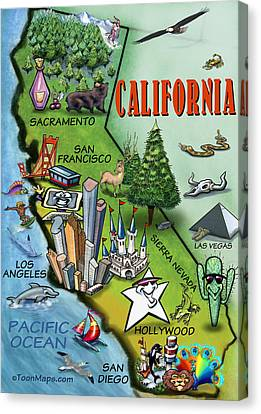 California Cartoon Map Canvas Print by Kevin Middleton