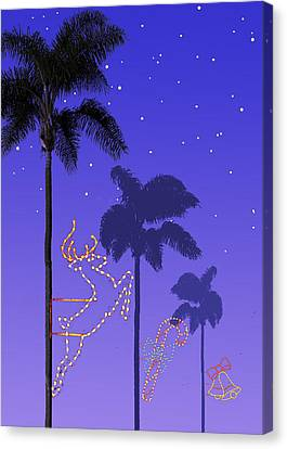 California Christmas Palm Trees Canvas Print by Mary Helmreich