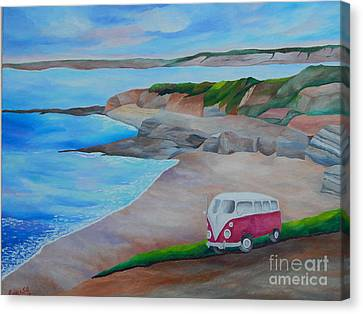 California Dreaming La  Jolla  Cove  Original  Acrylic  Painting  On  Canvas  Canvas Print by Louisa Bryant
