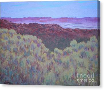 Canvas Print featuring the painting California Dry River Bed by Suzanne McKay
