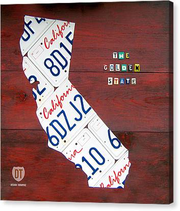 California License Plate Map Canvas Print
