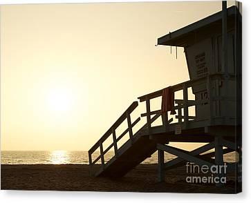 California Lifeguard Station At Sunset Canvas Print