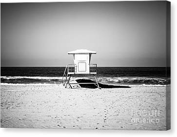 Shack Canvas Print - California Lifeguard Tower Black And White Picture by Paul Velgos