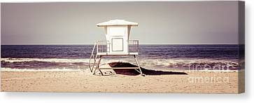 Shack Canvas Print - California Lifeguard Tower Retro Panoramic Picture by Paul Velgos