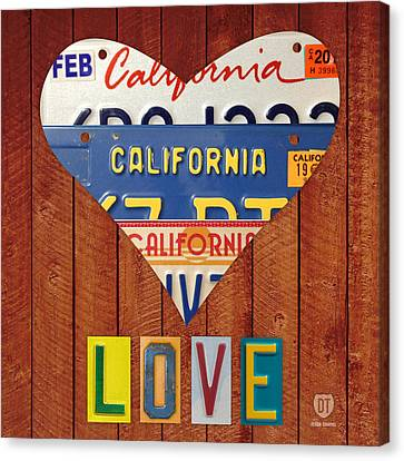 California Love Heart License Plate Art Series On Wood Boards Canvas Print