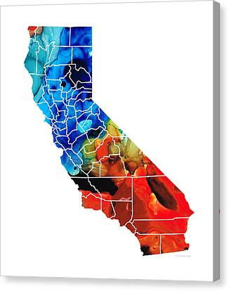 California - Map Counties By Sharon Cummings Canvas Print by Sharon Cummings