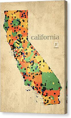 California Map Crystalized Counties On Worn Canvas By Design Turnpike Canvas Print by Design Turnpike