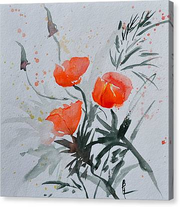 California Poppies Sumi-e Canvas Print by Beverley Harper Tinsley