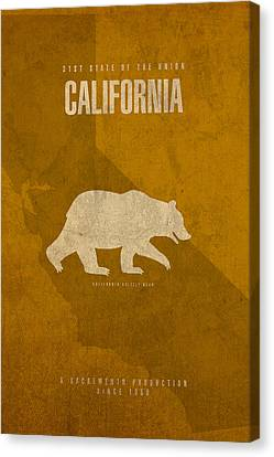 Movie Poster Canvas Print - California State Facts Minimalist Movie Poster Art  by Design Turnpike