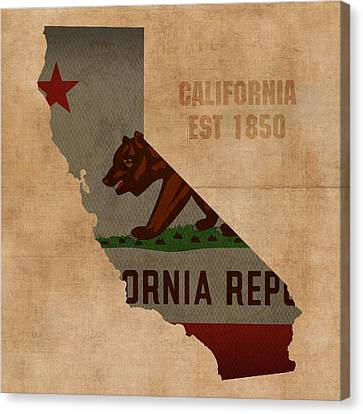California State Flag Map Outline With Founding Date On Worn Parchment Background Canvas Print by Design Turnpike