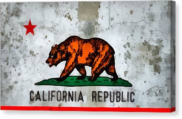 California State Flag Weathered And Worn Canvas Print by Dan Sproul