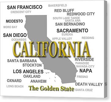 California State Pride Map Silhouette  Canvas Print by Keith Webber Jr