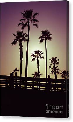 California Sunset Picture With Palm Trees Canvas Print by Paul Velgos