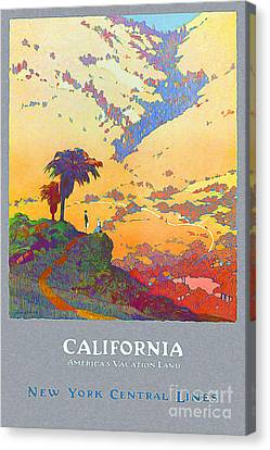 Nostalgia Canvas Print - California Vintage Travel Poster by Jon Neidert