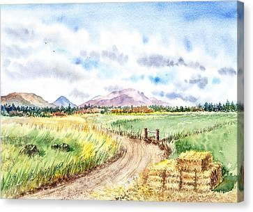 Californian Landscape Saint Johns Ranch Of Mountain Shasta County Canvas Print by Irina Sztukowski