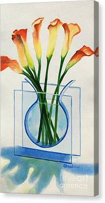Canvas Print featuring the painting Calla Lilies by Kathy Braud