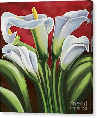 Canvas Print featuring the painting Calla Lilies  by Tim Gilliland