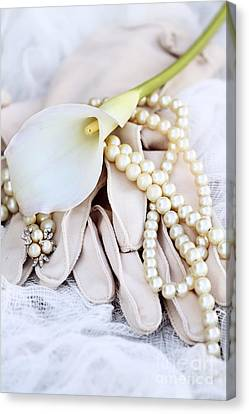 Calla Lily With Pearls Canvas Print by Stephanie Frey