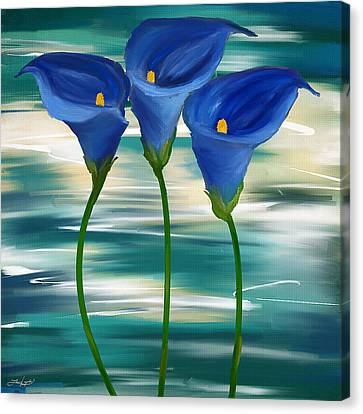 Trio Canvas Print - Calla Trio- Calla Lily Paintings by Lourry Legarde