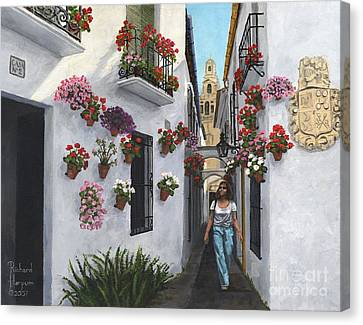 Andalucia Canvas Print - Calle De Las Flores Cordoba by MGL Meiklejohn Graphics Licensing