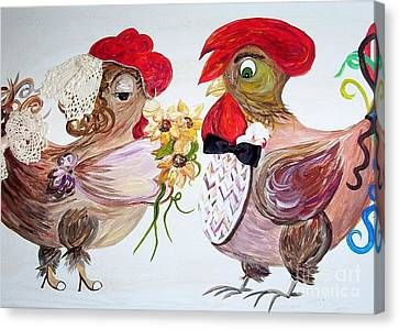 Calling All Chicken Lovers Say I Do Canvas Print by Eloise Schneider