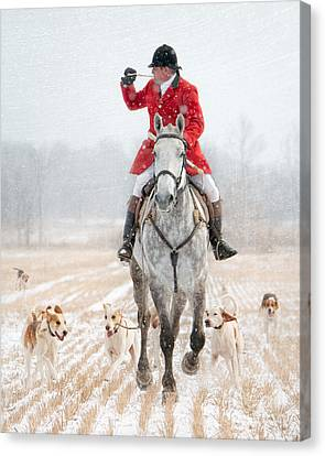 Calling The Hounds Back Canvas Print by Heather Swan